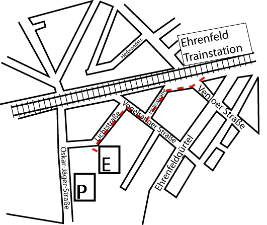Detailed map of how to get from Ehrenfeld Bf to the Evoke partyplace